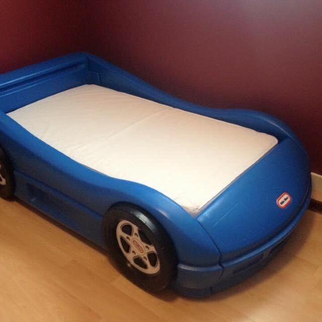 Blue Little Tikes Car Bed + Mattress
