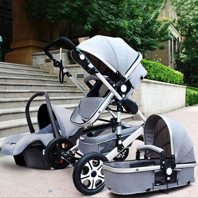Luxury Baby Stroller 3 in 1 travel Pram foldable pushchair bassinet&Car Seat
