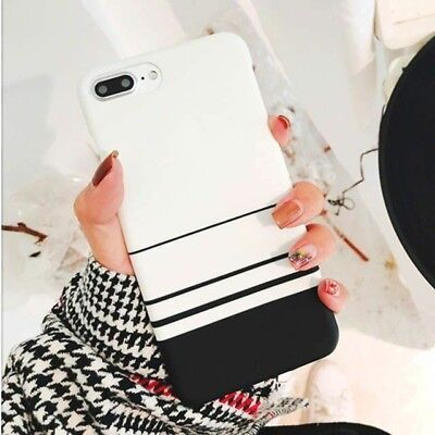 - Black and White Striped Solid Phone Case for iPhone XR X XS Max 5 6 6S 7 8 Plus