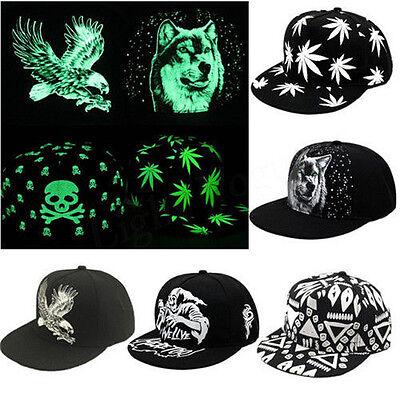 Mens Womens Hip Hop Luminous Snapback Caps Glow In The Dark Baseball Hats ()