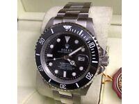 rolex submariner and gmt ceramic bezal . waterproof . sapphire glass.2.5 date. glide lock. flawless