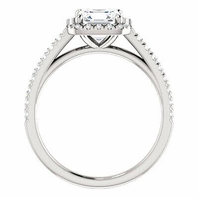 1.90 Ct. Asscher Cut Halo Round Diamond 14K Gold Engagement Ring Set D,VS1 GIA 1