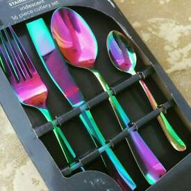 Iridescent 16 piece cutlery
