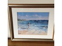 Framed Picture from John Lewis excellent Christmas present Girl on a Beach Signed JCH