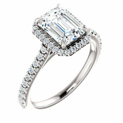 1.62 Ct. U-Pave Setting Emerald Cut Halo Diamond Engagement Ring D,VS2 GIA 14KW 3