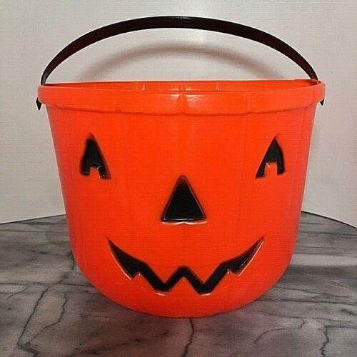 "Vintage Halloween Trick or Treat Pumpkin Jack O Lantern Bucket Pail 1982 10"""