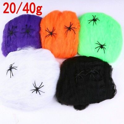 Big Spider Web with 4spiders Halloween Props Home Party Decor Stretchy Cobwebs V