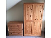 Wardrobe & chest of drawers & mirror