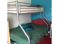 bunk bed - double below and single on top - metal