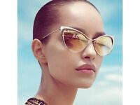 New Cat Eye Sunglasses in gold and brown