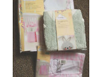 Baby Girls BUNNY THEME Nursery Nappy Stacker, Storage Bins and cute Bunny Rug Brand New Will Post