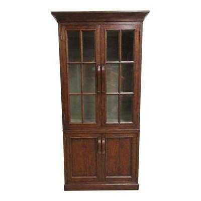 (Jonathan Charles Distressed Plank Walnut China Curio Cabinet Book Case Display A)