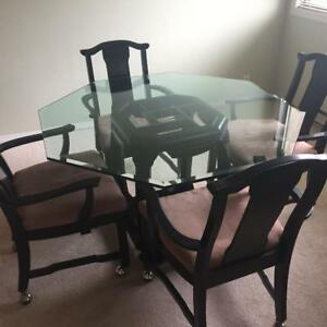 CUSTOM MADE SOLID WOOD AND GLASS DINING TABLE
