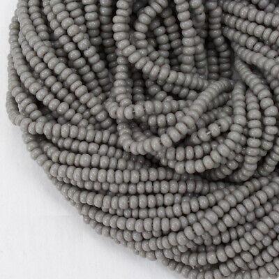 12/0 Opaque Gray Czech Seed Bead (10 Gm, Hank, 1/2 Kilo) #CSH076