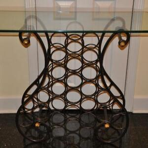 BOMBAY - WROUGHT IRON - GLASS TOP - WINE RACK - TABLE