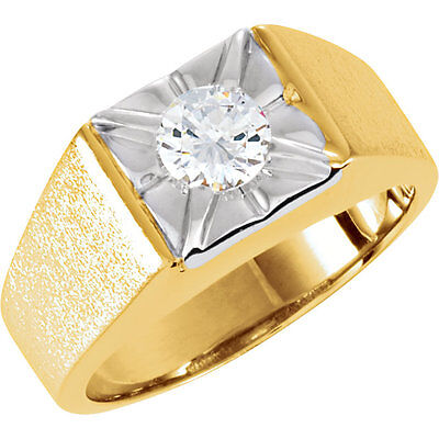 1.01 carat Round cut Diamond 14k Yellow Gold Solitaire Mens Ring GIA H SI2