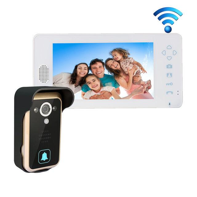 "2.4GHZ Wireless 7"" LCD Video Door Phone Intercom + 1 bell system Home Security"