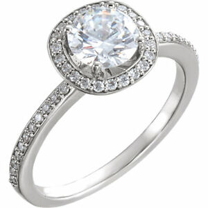 14kt White Gold Halo Engagement Ring - 1ct Moissanite & Diamonds