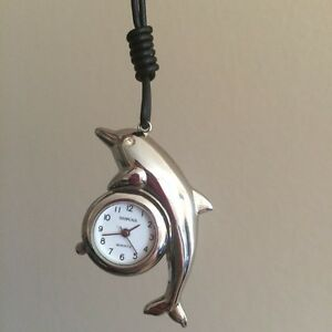 Dolphin Clock Pendant Necklace