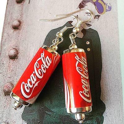Unique COKE EARRINGS handcrafted DESIGNER drink SODA retro COCA COLA pop CAN