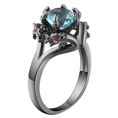 Sky Blue Dragon Biker Goth Ring Jewelry Unique Women Engagement Fashion Rings - Dragon Ring Jewelry