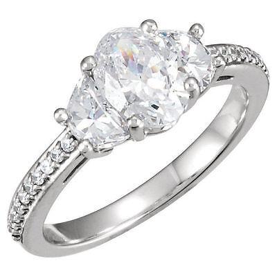 GIA H SI2 2.10 ct Oval Shape & Half Moon Cut Diamond Ring 14k White Gold