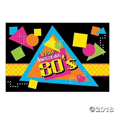 TOTALLY AWESOME 80s Party Decoration Arcade Game WALL MURAL BACKDROP Photo Prop  - 80s Photo Backdrop