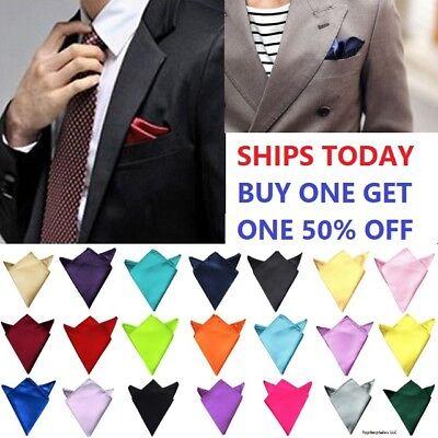 Men's Satin Silk Pocket Square Hankie Hankerchief Wedding Party Formal Suit New