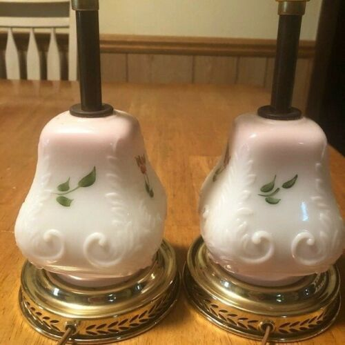 """Vintage small milk glass pair lamps, w/painted flower designs, 10"""" tall"""