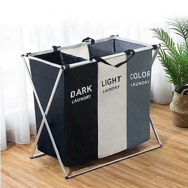 1/2/3 Sections Basket Hamper for Laundry Foldable Wash Cloth