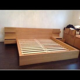 Ikea malm double bed and 2 side tables