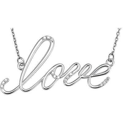 Genuine .08 ct. tw Diamonds Love 18 Inch Necklace Polished 925 Sterling Silver  Ct Tw Polished Diamond Necklace