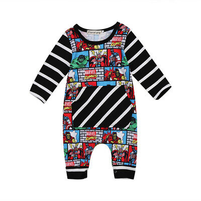 NWT Avengers Comic Strip Baby Boys Black Long Sleeve Romper Jumpsuit Outfit ](Avengers Outfit)
