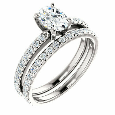 1 ct ring GIA 0.50 carat E SI2 Oval Shape Diamond Engagement 14K White Gold Ring