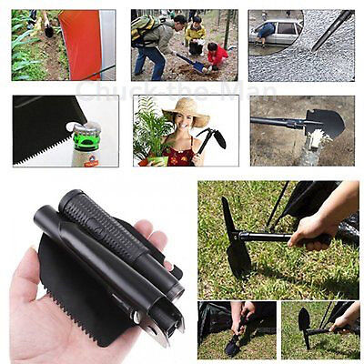 Folding Camping Shovel Military Survival Kit Hiking Compass Steel Saw Gear Tool
