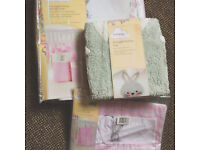 Baby Girls BUNNY THEME Nursery Nappy Stacker, Storage Bins and cute Bunny Rug Brand New Will Post