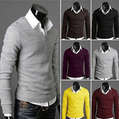 Men Casual Slim Fit V-neck Knitted Cardigan Pullover Jumper Sweater Tops Black