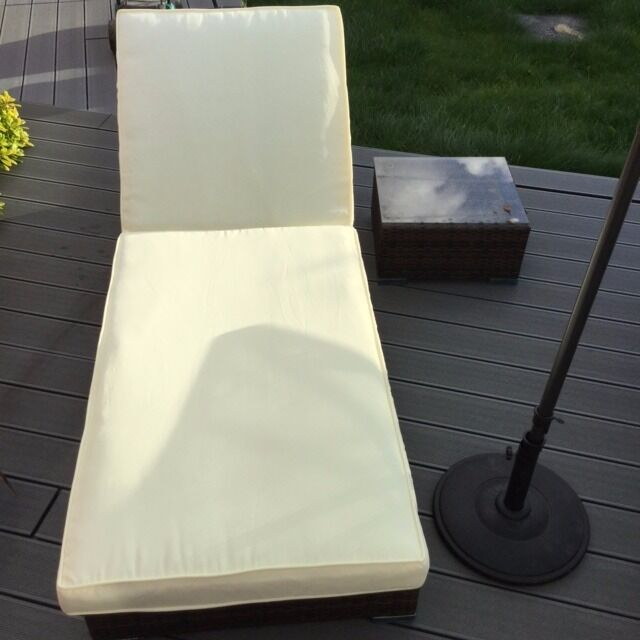 2 x Sun Loungers with Cushions and side table RRP £400 MUST GO BY THIS WEEKEND!!!!