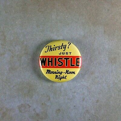 "Vintage Style Advertising Art Pinback Button  1""  Just Whistle Orange Soda"