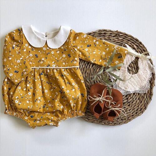 US Cute Newborn Baby Girl Floral Romper Bodysuit Jumpsuit Au