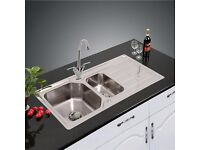 NEW UNUSED reversible 1.5 stainless steel sink and mixer tap.