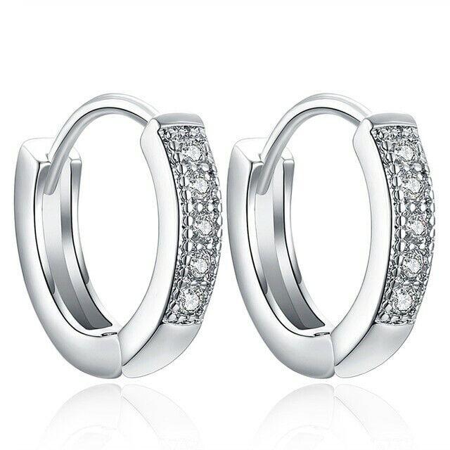 925 Sterling Silver Plated CZ Cubic Huggie Hoop Small Earrings Men Women E21 1