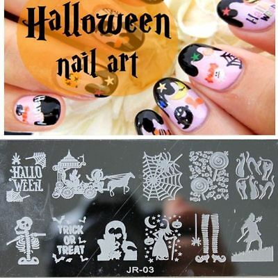 Nail Art Stamping Plates Image Plate HALLOWEEN Pumpins Ghost Witch Skelton JR03