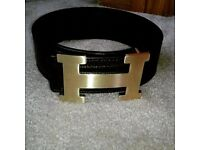 Hermes H Belt with gold buckle,