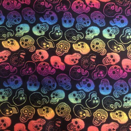 PENDLETON Fabric 2 yd X 70 in DAY OF DEAD/Sugar Skulls RARE Blanket Wool BLACK