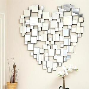Large Beautiful Modern Heart Shape Big Stunning All Mirror Glass Wall Mirror