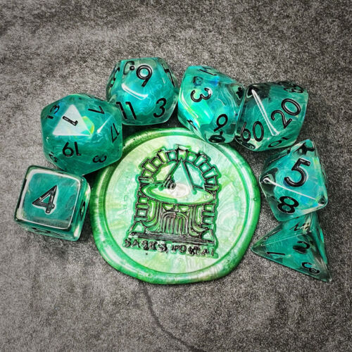 Sage's Cantrips - Teal Flakes Resin Polyhedral Dice Set Games Dungeons Dragons
