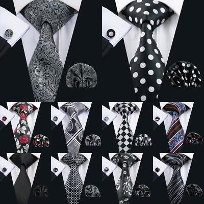 USA Classic Black Grey Mens Tie Paisley Stripe Novelty Silk Necktie Jacquard Set
