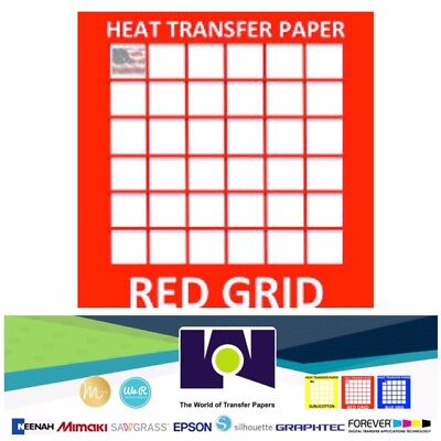 Red Grid Inkjet Heat Transfer Paper Iron On Light 20 Pk 8.5x11 Usa Made