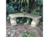 Haddonstone curved stone bench.